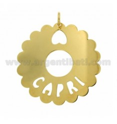 CHARM ROUND SCALLOPED 50 MM CAPRI SILVER GOLD PLATED TIT 925