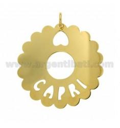 CHARM RUND AUSGEBOGTES 50 MM CAPRI Silber vergoldet TIT 925