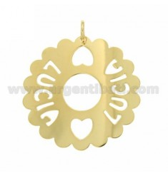 CHARM ROUND 50 MM SCALLOPED LUCIA IN GOLD PLATED TIT 925