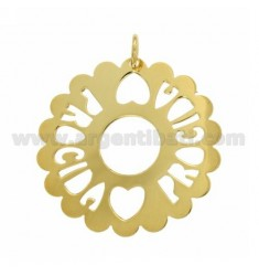 CHARM ROUND PROCIDA SCALLOPED MM 50 IN GOLD PLATED TIT 925