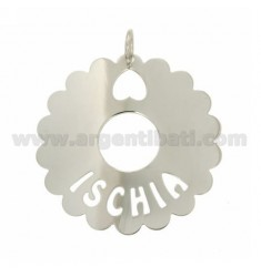 CHARM ROUND SCALLOPED 50 MM ISCHIA IN SILVER RHODIUM TIT 925