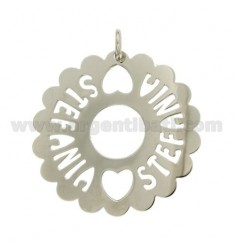CHARM ROUND SCALLOPED MM 50 STEFANIA SILVER RHODIUM TIT 925