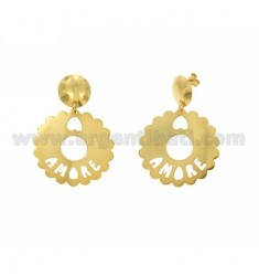 EARRINGS ROUND SCALLOPED MM 35 LOVE IN GOLD PLATED TIT 925