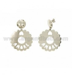 EARRINGS ROUND SCALLOPED MM 35 LOVE IN SILVER RHODIUM TIT 925
