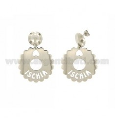 EARRINGS ROUND SCALLOPED 35 MM ISCHIA IN SILVER RHODIUM TIT 925