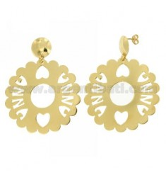 EARRINGS ROUND SCALLOPED MM 50 ANNA SILVER GOLD PLATED TIT 925