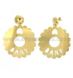 Ohrringe runden AUSGEBOGTES MM 50 DANY Aus vergoldetem TIT 925