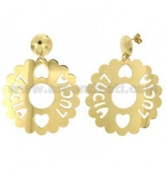 EARRINGS ROUND 50 MM SCALLOPED LUCIA IN GOLD PLATED TIT 925
