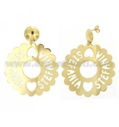 EARRINGS ROUND SCALLOPED MM 50 STEFANIA IN GOLD PLATED TIT 925