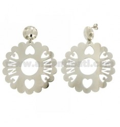 EARRINGS ROUND SCALLOPED MM 50 ANNA SILVER RHODIUM TIT 925
