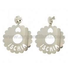EARRINGS ROUND SCALLOPED 50 MM ISCHIA IN SILVER RHODIUM TIT 925