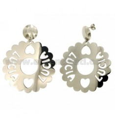 EARRINGS ROUND 50 MM SCALLOPED LUCIA SILVER RHODIUM TIT 925