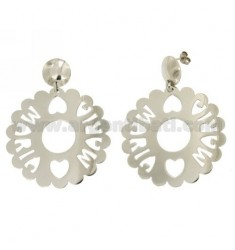 EARRINGS ROUND SCALLOPED 50 MM MARIA IN SILVER RHODIUM TIT 925
