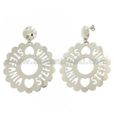 EARRINGS ROUND SCALLOPED MM 50 STEFANIA SILVER RHODIUM TIT 925