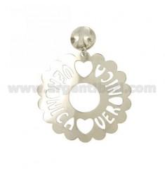 MONO runder Ohrring AUSGEBOGTES MM 50 VERONICA Silber Rhodium TIT 925
