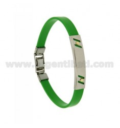 RUBBER BRACELET WITH PERFORATED PLATE TRANSVERSAL LINES IN STEEL WITH BILAMINE BRASS AND GOLD VITINS