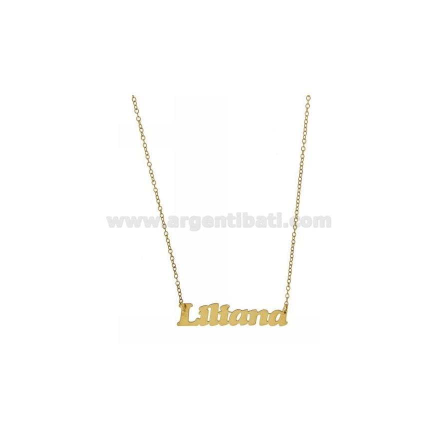 Tit 925� Argento 45 Oro Placcato Collana Con In Cm Nome Rolo' Liliana OPkZiXu
