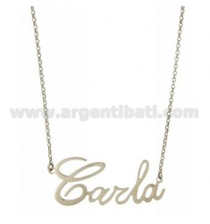 ROLO NECKLACE &39CM 45 WITH NAME CARLA SILVER RHODIUM TIT 925 ‰