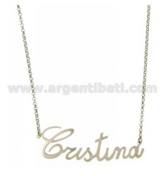 ROLO NECKLACE &39CM 45 CRISTINA WITH NAME SILVER RHODIUM TIT 925 ‰