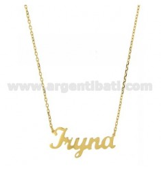 ROLO NECKLACE &39CM 45 IRINA WITH NAME SILVER GOLD PLATED TIT 925 ‰