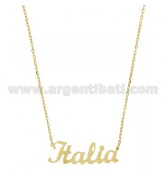 ROLO NECKLACE &amp 39CM 45 AS ITALY IN SILVER GOLD PLATED TIT 925 ‰