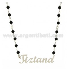 ONYX NECKLACE BALL faceted MM 4 CM 45 AS TIZIANA SILVER RHODIUM TIT 925 ‰