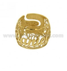 BAND RING IN Elektro DANIELA Silber vergoldet TIT 925 ‰ Größe verstellbar