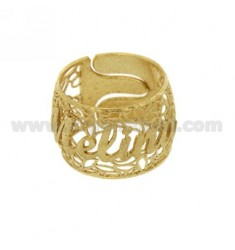 BAND RING IN ELECTROFUSION MELINA SILVER GOLD PLATED TIT 925 ‰ SIZE ADJUSTABLE