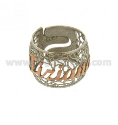 BAND RING IN ELECTROFUSION TIZIANA SILVER PLATED RHODIUM AND ROSE GOLD TIT 925 ‰ SIZE ADJUSTABLE