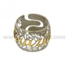 BAND RING IN Elektro GRACE in Silber und Gold rhodiniert TIT 925 ‰ Größe verstellbar