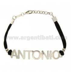 BRACELET NAME ANTONIO SILVER TIT 925 ‰ SILK 18 CM WAXED
