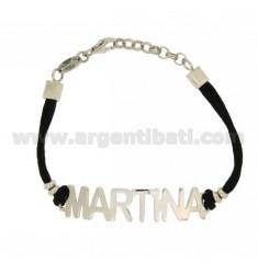 BRACCIALE NOME MARTINA IN ARGENTO TIT 925‰ E SETA CERATA CM 18