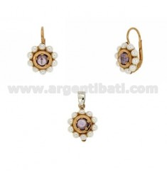 PENDANT AND EARRINGS ROUND WITH BEADS AND ZIRCON SILVER ROSE GOLD PLATED TIT 925 ‰