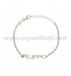 ROLO BRACELET 'NAME BABY PRINT FILIPPO IN SILVER PLATED RHODIUM TIT 925%