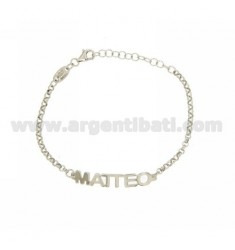 ROLO BRACELET &39NAME BABY MATTHEW BLOCK SILVER PLATED RHODIUM TIT 925%