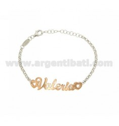 ROLO BRACELET &39NAME BABY ITALICS VALERIA SILVER PLATED RHODIUM AND ROSE GOLD TIT 925%