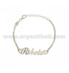ROLO BRACELET &39NAME BABY ITALICS ROBERTA SILVER PLATED RHODIUM TIT 925%