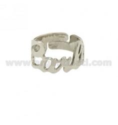 CARLA BAND Ring einstellbar Silber Rhodium TIT 925