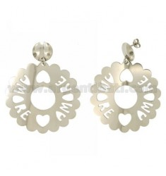 EARRINGS ROUND SCALLOPED MM 50 LOVE IN SILVER RHODIUM TIT 925