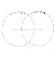 ANKLE CABLE WITH ALTERNATE BALLS 2 PCS IN SILVER RHODIUM TIT 925 ‰ CM 23 EXTENDABLE TO 26