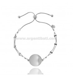 CABLE BRACELET WITH ALTERNATE BALLS WITH CENTRAL ROUND 20 MM SILVER RHODIUM TIT 925 ‰