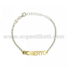 ROLO BRACELET 'NAME BABY PRINT MARCO IN SILVER PLATED RHODIUM AND GOLD TIT 925%
