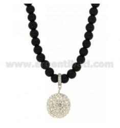 Halskette Achat Schwarz 6 CM 80 MM MIT SILVER TIT 925 ‰ UND KRISTALL
