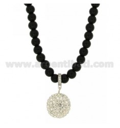 NECKLACE AGATE BLACK 6 CM 80 MM WITH SILVER TIT 925 ‰ AND CRYSTAL