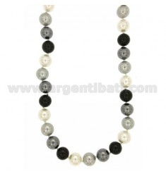 NECKLACE 45 CM PEARL GREY MULTICOLOR 12 MM WITH SUSTA SILVER RHODIUM TIT 925