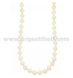PEARLS NECKLACE 10 MM WITH ENDLESS SUSTA SILVER RHODIUM TIT 925 ‰ AND ZIRCONIA CM 48