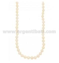 Perlenkette mit 8 MM SUSTA Silber Rhodium TIT 925 ‰ 47.53 CM