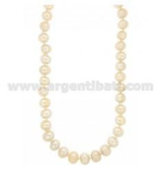 Barocken Perlen Halskette mit silbernen RHODIUM SUSTA TIT 925 ‰ 46 CM
