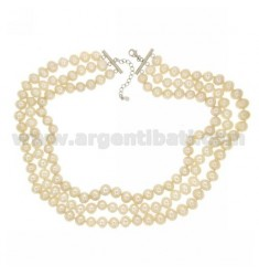 NECKLACE WIRE 3 DEGRADE BAROQUE PEARLS WITH SILVER RHODIUM SUSTA TIT 925 ‰ CM 45.51