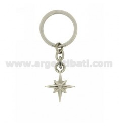 KEY RING ROSE OF THE WINDS AND STEEL ZIRCONE